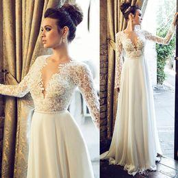 Wholesale T Length Wedding Dress Designers - Designer Berta Wedding Dress Bridal Sexy V Neck Long Sleeve Lace Country Wedding Dresses Cheap Robe De Mariée Bohemian 2015-Wedding-Dresses