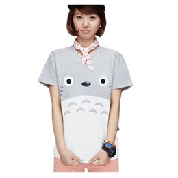 2017 t-shirt en gros pour imprimé animal Wholesale-japonais Anime Totoro T-shirt imprimé 2017 Womens occasionnels manches courtes Emoji Funny T-shirts Femmes Graphic Tees Tops Ladies Tshirt abordable t-shirt en gros pour imprimé animal
