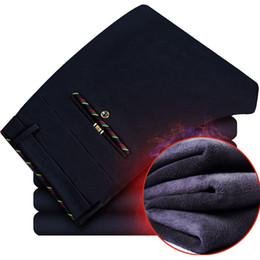 Wholesale Fleece Overalls - Wholesale- Thick Men Casual Cargo Pants Winter Warm Velvet Business Trousers Male Black Navy Mens Stretch Pants Plus Size Slim Fit Overalls