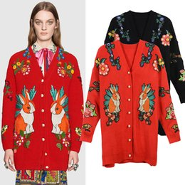 Wholesale Bee Stitched - 2017 New Autumn Winter Women Knitwear High-end Catwalk Cardigan Rabbit Flower Bee Embroidery Long Women Casual Coat Knit Sweater