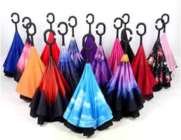 Wholesale Uv Protection Umbrellas - Windproof Umbrella Inverted Cars Umbrella, Reversible Double Layer UV Protection Big Straight C Shape Handle Reverse Umbrella for Car Rainy