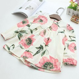 Wholesale Childrens Flower Tops - Cute sweet Flower Printed Spring Autumn cotton Girls Dresses long sleeve Tops Blouses New Childrens Casual Shirt Dress kids Clothing A155