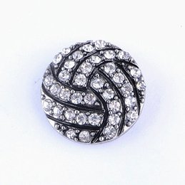 Wholesale Rhinestone Basketball Jewelry - Wholesale Sports Snaps Button 18mm Ginger Snap Style Volleyball Basketball Football Baseball Rugby Diy Snaps Rhinestone Jewelry