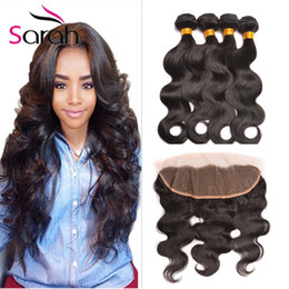 Wholesale Peruvian Natural Wave Mix Length - Peruvian Virgin Hair With Lace Frontal Closure 13X4 With Baby Hair Body Wave Full Frontal With 3 Bundles Unprocessed Virgin Human Hair