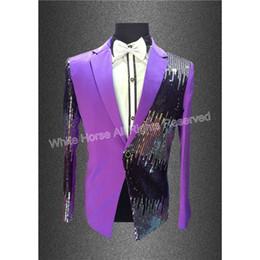 Wholesale Long Sleeve Sequin Dress Xs - Wholesale- Mens Purple Blazer Sequins Prom Dresses Paillette Male Master Stage Costumes Men top Host Clothing Singer Blazer For Men