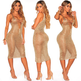 Wholesale hot girls sexy american - 2017 Hot Sale European and American Sexy Rose Gold Deep V Tie Beach Dress Casual Girl Club Midi Dresses