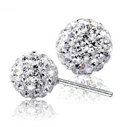 Wholesale 12 Mm Earrings Wholesale - 925 sterling silver Stud Shambhala earrings jewelry charm simple 6 8 10 12 mm ball earrings
