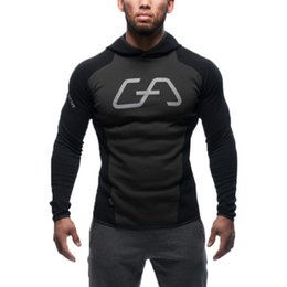 Wholesale Hooded Long Sleeve Shirt - New Mens Bodybuilding Hoodies Gym Workout Shirts Hooded Sport Suits Tracksuit Men Chandal Hombre Gorilla wear Animal