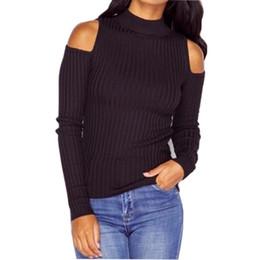 Wholesale Off Shoulder Turtleneck - Wholesale- Women Cold Shoulder Knitted Sweater Full Sleeve Turtleneck Slim Cotton Pullover Black Gray Casual Jumper Off Shoulder Pull Fem