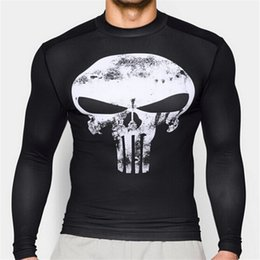 Wholesale Long Sleeve Anime Shirts - Wholesale- Active Fajas Undershirts Long Sleeve Men Exercise Tights Marvel Superhero Mma Fitness Shirt Anime Elastic Cosplay Hombre S-XXL