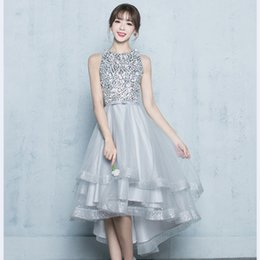 Wholesale Junior Dancing Dress - Dazzling Sequins Beading Short Prom Homecoming Dresses 2017 High Low Sheer Back Silver Grey Tulle Hi-Lo Junior Girls Dance Dress Party Gowns