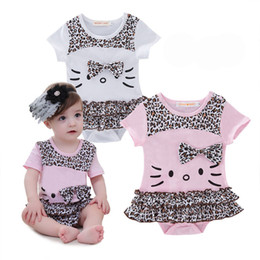 Wholesale Girls Leopard Dress Pink - Baby Summer kitty leopard print Bow short sleeve Rompers Newborn Dress One Piece Romper Onesies Jumpsuit Kids girls Clothing Lovekiss A1