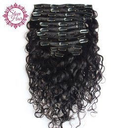 Wholesale Malaysian Virgin Hair Yaki - Water Wave Clips In Hair Extensions Yaki Clip In Human Hair Brazilian Virgin Hair Water Wave Clip In Human Extensions