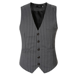 Wholesale Mens Plaid Vest - Wholesale- 2016 famous brand slim fit striped dress vests for men good qaulity mens suit vest male waistcoat casual size 3xl