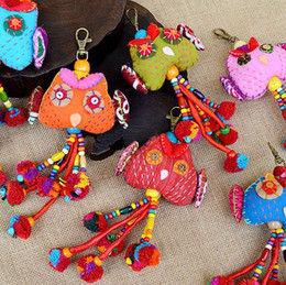 Wholesale Thai Pendants - Animal fabric key chain Thailand hand sources Thai hair embroidery owl player car hanging bag hanging pendant original folk style