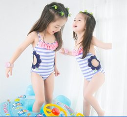 Wholesale Girl Swimsuit Stripe - 2017 new arrivals hot selling girl kids bikini summer girl Lovely stripe Flower hollow One-piece skirt swimsuit free shipping