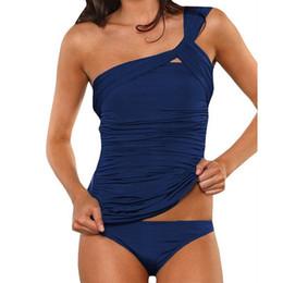 Wholesale Red Tankini Xl - 7 Colors !Tankini Set one shoulder swimsuit Ruched Plus size Bikini Push Up Swimwear Trikini Monokini Swimming Suit Biquini H108