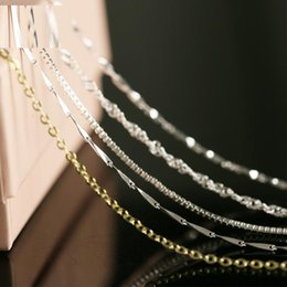 Wholesale Different Shapes - 20pcs 925 silver smooth different shape chains Necklace snake chain mixed size 40-45CM 16-18inch hot sale