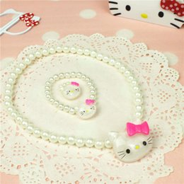 Wholesale Pearl Ring White Gold - 2 Styles Kawaii Kids Necklace Bracelet and Ring Set For Sale Pearl Bead Necklace for Girl Hello Kitty Choker
