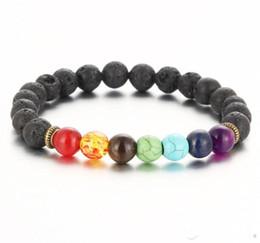 Wholesale Chakra Gemstone Set - Charm Bracelets Top Plaza Men Women Colorful Lava Rock Beads Chakra Bracelet Black Healing Energy Stone Gemstone Bracelet