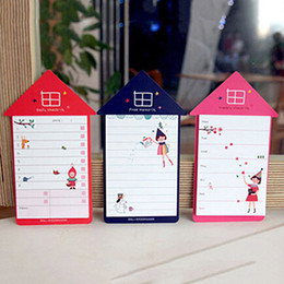 Wholesale Post Massage - Wholesale- Creative Lovely House Shaped Massages Stickers Memo Pads Post Bookmark Marker Index Flags Cute Sticky Notes