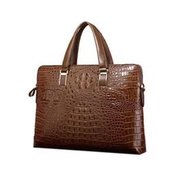 Wholesale Horizontal Genuine Leather Bags - New crocodile pattern leather men bag horizontal and horizontal section handbag business briefcase casual shoulder Messenger