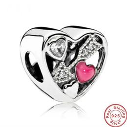 Wholesale Arrow Flowers - 2017 Authentic 925 Sterling silver Cupid loves arrows Beads Fit Original Pandora bracelet diy Full diamond heart white CZ bracelet Jewelry