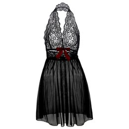 Wholesale Babydoll Clothing - Summer Sexy Lingerie Women Sleepwear Babydoll Nightdress Dress Sleepwear Lace Robes Nightgowns Underwear Black Noir Clothing
