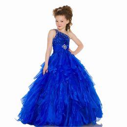Wholesale Cute One Shoulder Dresses Cheap - Royal Blue Little Kids Beauty Royal Blue Cute One Shoulder Ruffles Crystal Ball Gowns Princess Organza Cheap Girls Pageant Dress