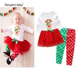 Wholesale Girls Legging Top Sets - 3 Designs Christmas Outfits Girls Christmas Clothing Christmas Long Sleeve Tops Dress Polka Dot Legging Infant Suits 2pcs set CCA7056 30set