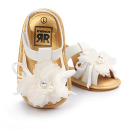 Wholesale Baby Flower Tie Shoes - Wholesale- High Quality Summer Baby Shoes Newborn Baby First Wlaker Shoes Summer Infant Baby Flower White Shoes 0-18M