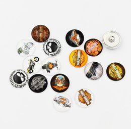 Wholesale Silver Motorcycle Charms Wholesale - Newest Mixed Motorcycle Glass Button Snaps Sports Jewelry Fit 18MM Button Snap Bracelet