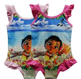 Wholesale Swimsuits For Big Girls - Girl Moana Swimwear 2017 New baby One-Pieces grenadine Swimsuit For Big Girls children cartoon moana sling kids summer swimming suit