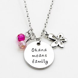 Wholesale Flower Families - Fashion Round Letter Pendant Necklace Ohana Means Family Flower Crystal Jewelry LM-N249
