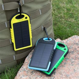Wholesale Solar Charger Emergency Power - 5000mAh Outdoor Portable Solar Power Bank with Dual USB Emergency External Battery Charger for Samsung iPhone Smart Phones