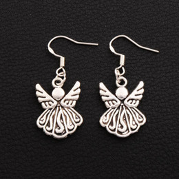 Wholesale Party Ornaments - Angel Wing Earrings 925 Silver Fish Ear Hook 30pairs lot Antique Silver Chandelier Ornaments E216 39.2x15.4mm