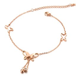 Wholesale gold butterfly anklet - hot sale fashion designer personality beach stainless steel butterfly diamond zircon charm anklet feet body jewelry
