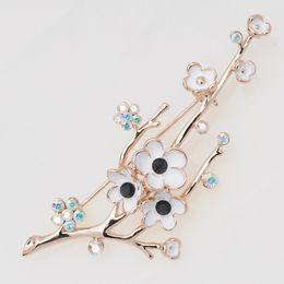 Wholesale Sapphire Party Dress - New gold alloy rhinestone plum flower plant brooch pin garment jewelry flowers women scarf brooch for dress