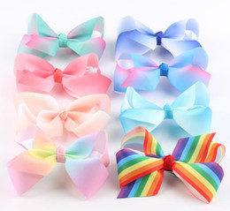 Wholesale Small Grosgrain Hair Bows - 5inch 12cm Rainbow Grosgrain Ribbon Baby Boutique Small Size Hair Bows WITH CLIP for Children Hair Accessories 16 Colors