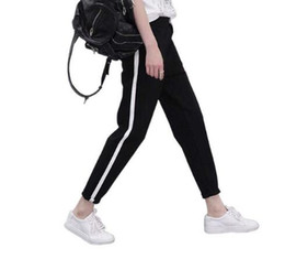 Wholesale Drawstring Top - Top Fashion Women Side Striped Harem Pants Women Black Casual High Waist Pants Drawstring Loose Trousers Pantalon Femme