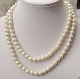 """Wholesale 8mm South Sea Pearls - Free Shipping ** Details about Pretty 8mm white natural South Sea Shell Pearl round necklace 50"""" AAA"""