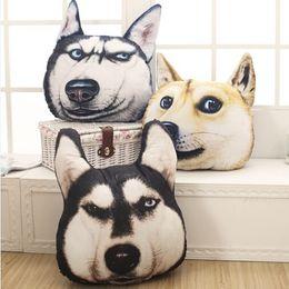Wholesale Husky Car - New Hot 3D 38cm*35cm Samoyed Husky Dog Plush Toys Dolls Stuffed Animal Pillow Sofa Car Decorative Creative Birthday Gift