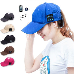 bluetooth-kopfhörer ballkappe Rabatt Bluetooth Hats Wireless 6 Farben Baseball Cap Smart Hat Kopfhörer Headset Lautsprecher Mic Kopfbedeckung Sonnenhut für Weihnachtsgeschenke
