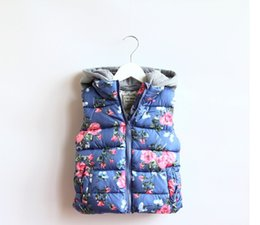 Wholesale hooded vest thick - Children Outerwear Baby Girl Floral Waistcoat Hooded Thick Warm Winter Autumn Vest Coat Kids Waistcoat Blue Pink Colors