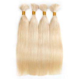 Wholesale Double Drawn Hair Bulk - Double Drawn Straight Braiding Hair Bulks No Weft Raw Unprocessed Human Hair Bulks 3 Pcs Lot 18 To 30 Inch #4#6#613 Natural Color