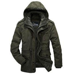 Wholesale Vintage Down Parka - Winter Jacket Men Casual Thicken Warm Cotton-Padded Jackets Men's Hooded Windbreaker Outwear Parkas Plus size 4XL Army Down Coat