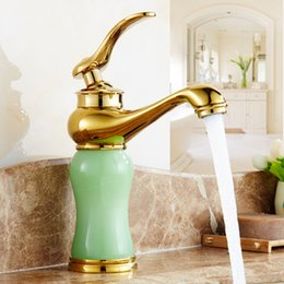 Wholesale Golden European Handles - Antique Golden Copper Hot and Cold Water Faucet Mixer European Single Handle Water Tap Bathroom Green Jade Basin Faucet