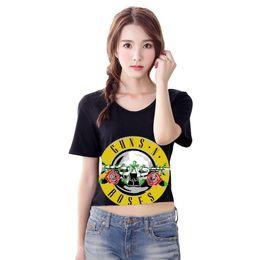 Wholesale Rise T Shirt - women's t shirt Sexy t-shirts Rose & Gun Print Crop Top T-Shirt Cropped Tops Short Sleeve O-neck Tee Shirt plus size slim NV47 RF