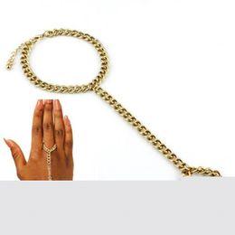 Wholesale Gold Slave Bracelets - Wholesale-Women Heavy Metal Bracelet Bangle Slave Chain Link Finger Hand Harness Gold 1NXH