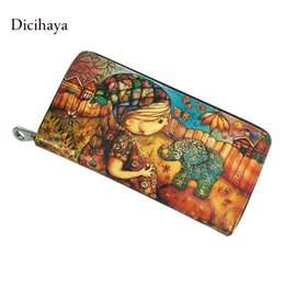 Wholesale Interior Design Prints - Wholesale- DICIHAYA Genuine leather Brand Design Women Wallets Ladies Clutch Hand Bag Woman Cartoon Printing Purse Long Female Wallet